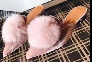 Pink Velvet Mules with Faux Fur Pompoms