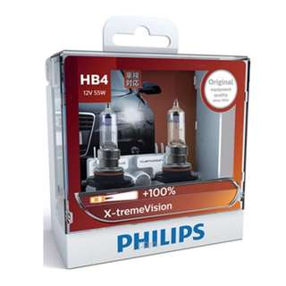 Philips HB4 9006 X-treme Vision +100% Bulbs, Pair