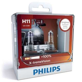 Philips H11 X-treme Vision +100% Bulbs, Pair