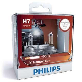 Philips H7 X-treme Vision +100% Bulbs, Pair