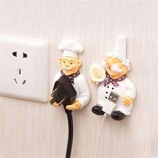 廚師 👨🍳 插座電源線 收納掛架 掛鈎 可愛強力黏鉤 插頭黏膠支架