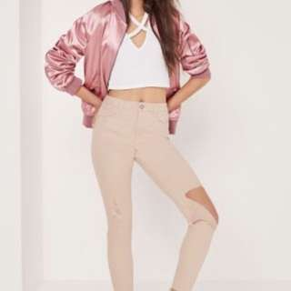 Missguided pink high waisted jeans