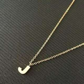 Stainless Letter J Necklace (Gold)