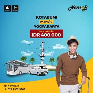 Promo tiket shuttle dan bus murah rute Jogja - Kotabumi dan sebaliknya. Hubungi Nemob.id