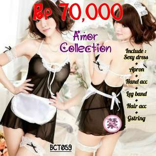 Lingerie seksi kostum maid (BCT59) By AMORCOLLECTION