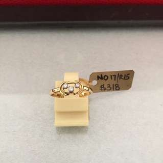 14K yellow gold ( 3pcs diamond )