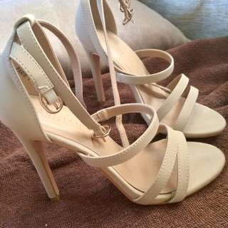 Cream Strapped Heels