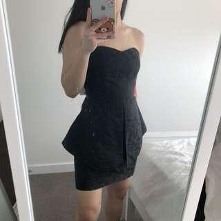 PILGRIM Size 8 Textured Cocktail Dress in Black
