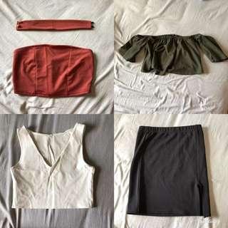 Crop tops & skirt