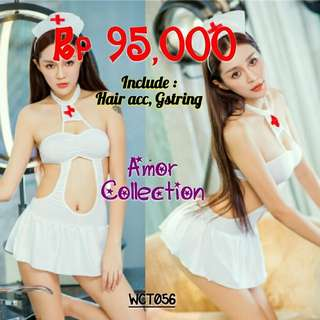 Lingerie seksi kostum suster putih (WCT056) By AMORCOLLECTION