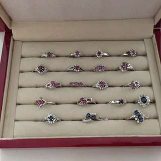 925 silver ring ( ruby &  blue sapphires ) Each $180