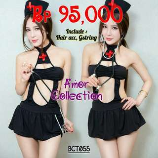 Lingerie seksi kostum suster hitam (BCT055) By AMORCOLLECTION