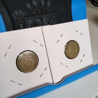 1949,50 old five cents hong kong coins