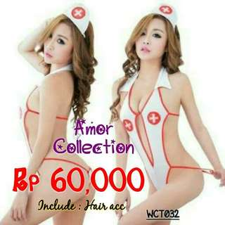 Lingerie seksi kostum suster (WCT032) By AMORCOLLECTION