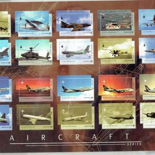 Stamps Depicting aircrafts civil and military which have flown over Singapore Sky