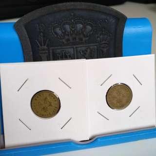 1950,60 old five cents hong kong coins