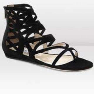 Jimmy Choo Black Suede Strappy Cutout Vernie Sandals Size 37