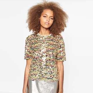 Zara multicolor sequin top