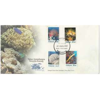Malaysia 1997 International Year of the Reef 97 FDC SG #658-661 (slight toning around 30s)