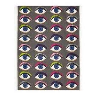 "NEW! IKEA VANNERNA LAPPAR Designer Cotton Fabric Panel 47 x 118"" Grey Funky Eyes"