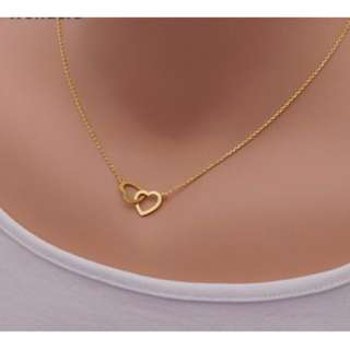 Luxury Gold Twin Heart Necklace
