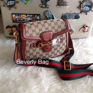 jual tas Gucci Lady Web Canvas LEATHER MIRROR - coklat