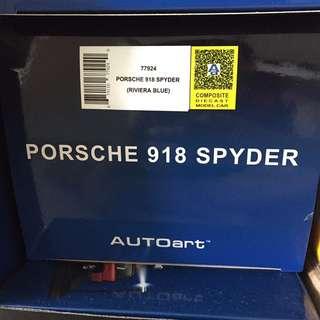 1:18 Autoart Porsche 918 Spyder Riviera Blue