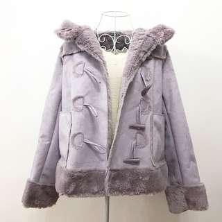 日本nice claup牛角鈕扣麂皮外套