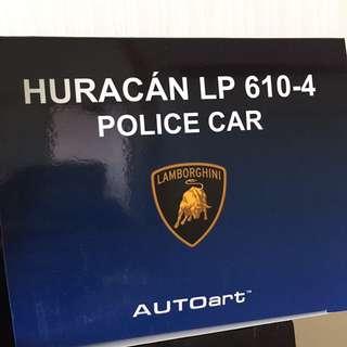1:18 Autoart Lamborghini Huracan LP610-4 Polizia