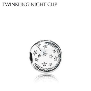 Twinkling Night Clip / Star Pavé Clip Pandora Charm