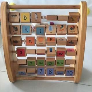 Standing alphabet number puzzle
