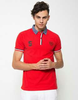 Sale! Polo shirt pria Nevada warna merah ukuran L