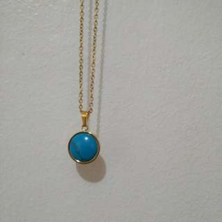 Gold plated turquoise necklace