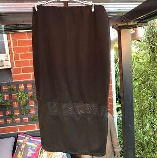 Just covers knee black mesh skirt formal cocktail