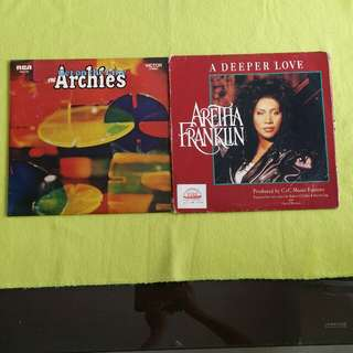 2LP. ARCHIES/ARETHA FRANKLIN. get on the line/ a deeper love. ( 2 Lp for the price of 1 ) Vinyl record