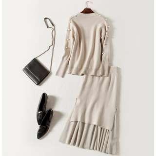 高級訂製珍珠針織毛衣拼接網紗裙時尚氣質套裝裙
