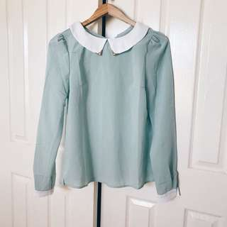 Mint Green Collared Blouse