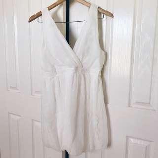 White V-Neck Chiffon Dress