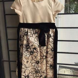 Dress Pesta Anak2 Warna Coklat Motif