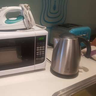 Microwave, iron, kettle all 3
