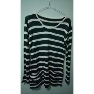 C. knit stripe green