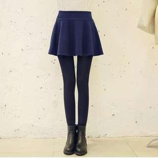 加絨泡泡假兩件裙褲(藍裙黑褲)