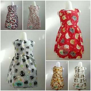 DRESS ANAK MOTIF / DRES LENGAN BUNTUNG / DRES KATUN / DRESS CATRA / BAJU ANAK / DRESS
