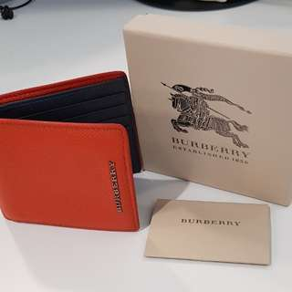 Used Burberry Men's Wallet (bright coral)