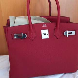 AUthentic Hermes birkin 30 rouge vif phw stamp A