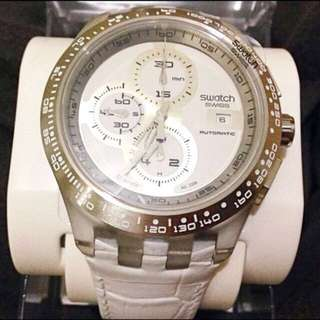 全新絕版三眼計時自動上鍊機械錶-Swatch.買即贈行李箱