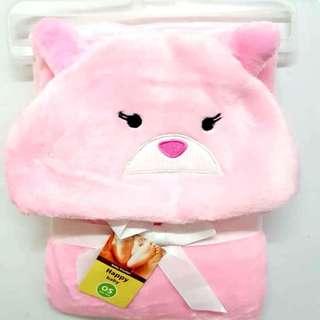 Hooded baby blanket (Cartoon Design) (Pink Bear)