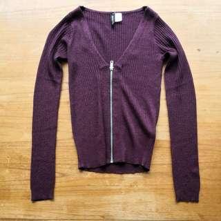 NEW Purple zippered top/Cardigan