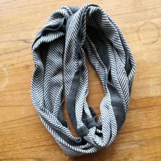 Wooly striped wrap scarf