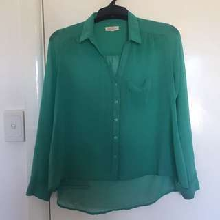 Urban Outfitters sheer green shirt